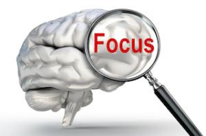 mozek s lupou a nápisem focus